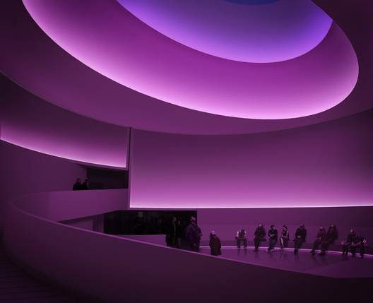 James Turrell: Rendering para Aten Reign, 2013, Iluminación natural y LED , Site-specific installation, Solomon R. Guggenheim Museum, New York © James Turrell, Rendering: Andreas Tjeldflaat, 2012 © SRGF