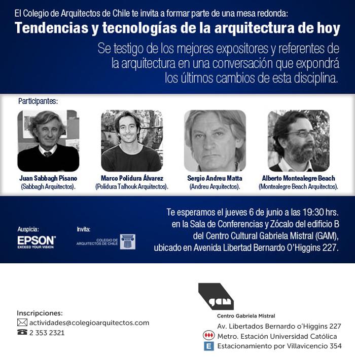 Mesa Redonda: Tendencias y tecnologías de la Arquitectura de hoy / GAM Santiago