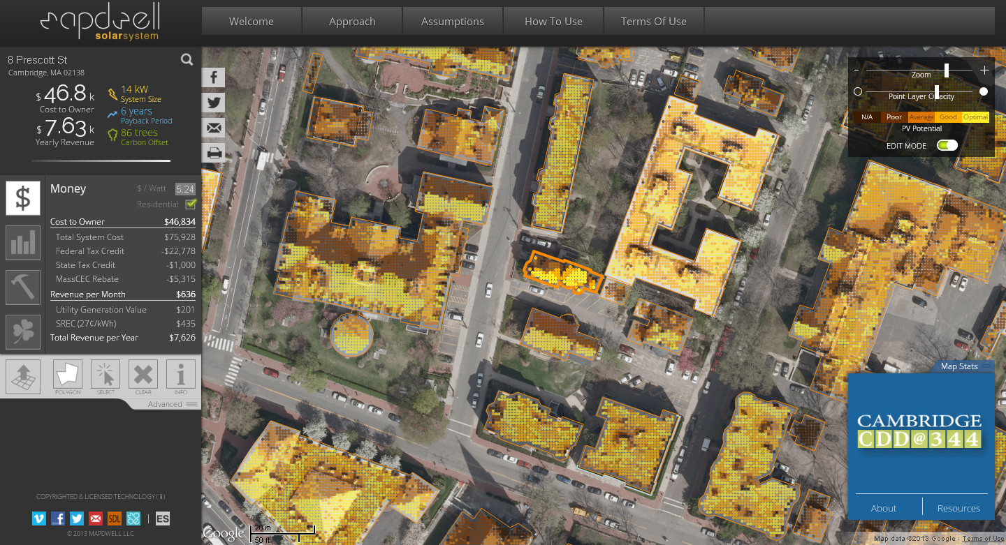 The Mapdwell Project: Determining Optimal Solar Power on Rooftops
