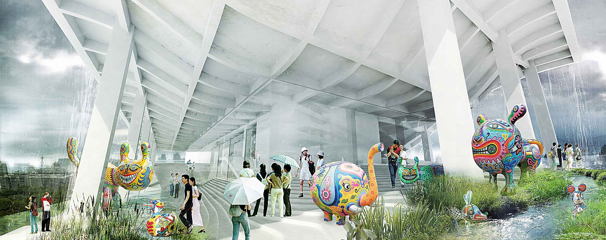 Gallery of city cultural center competition entry kamjz for Waterfall green design centre