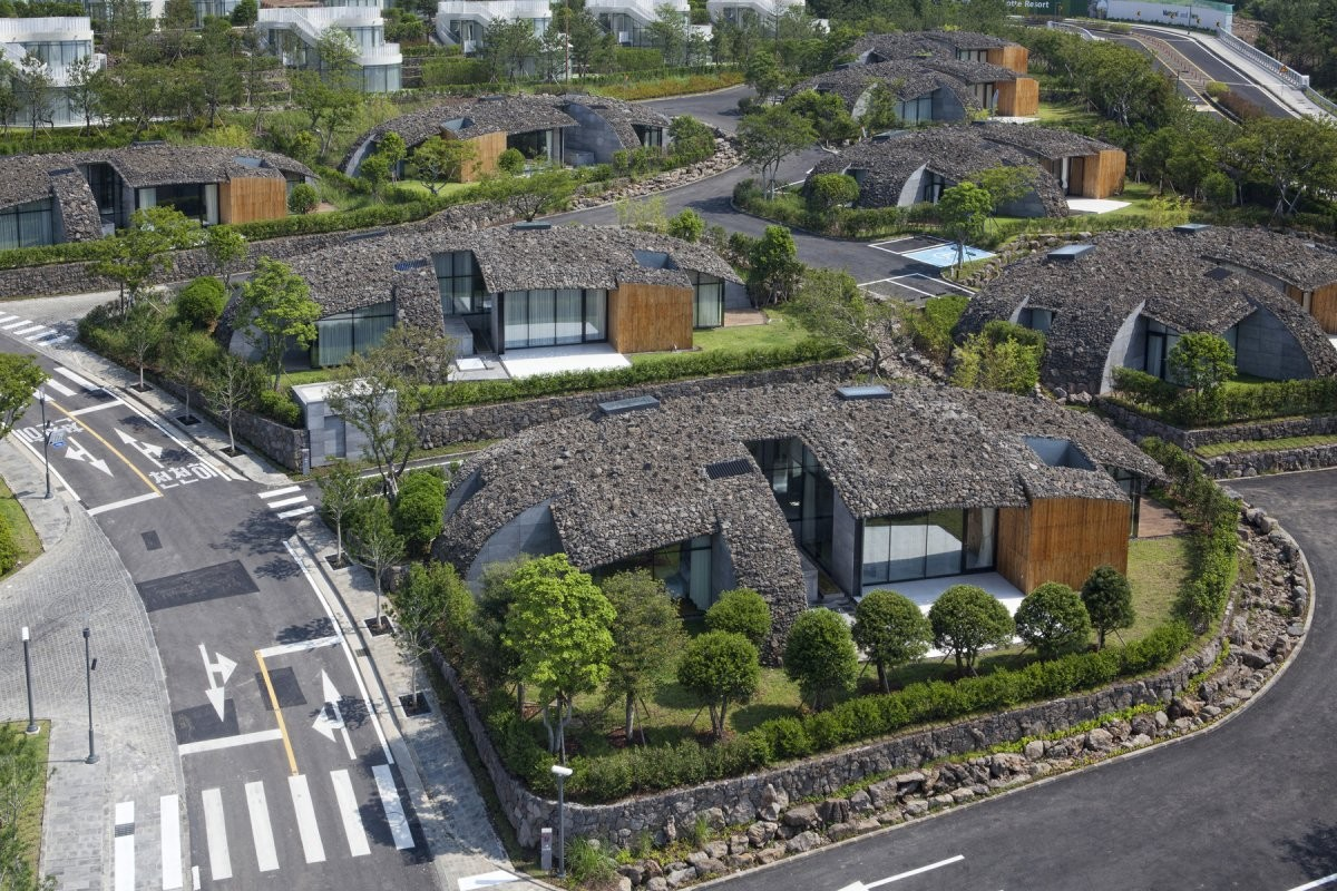 Art Villas, Block D: Kengo Kuma diseña casas con cubiertas de roca volcánica en Corea del Sur, Courtesy of Kengo Kuma & Associates