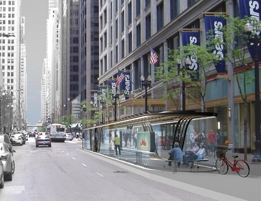 1st place 'Form vs. Uniform: Generative Chicago BRT Stations' / Courtesy of Hesam T. Rostami and Bahareh Atash