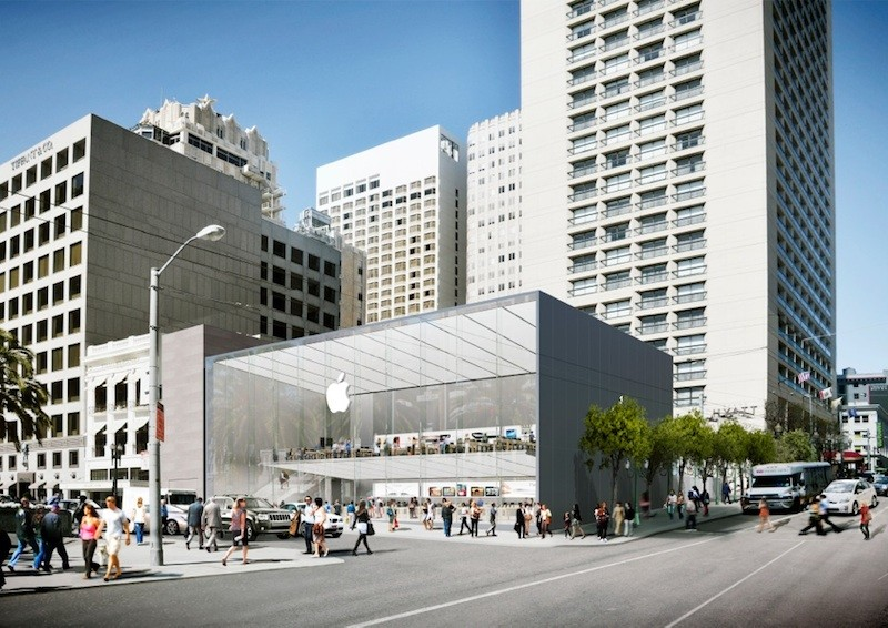 What Does the New Apple Store in San Francisco Say About Commercial Architecture?, Rendering of the proposed Apple Store in Union Square
