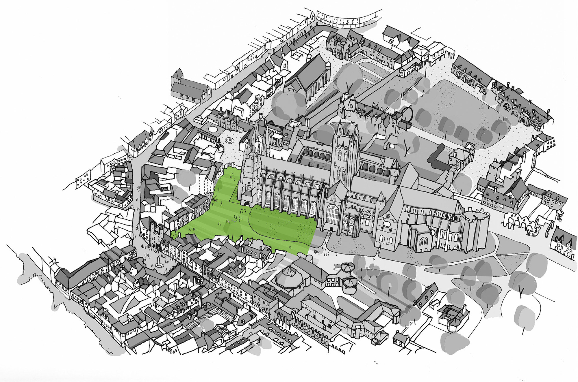 Canterbury Cathedral Landscape Design Competition, Site Plan
