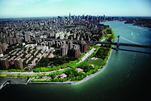 East River Blueway Plan proposed by WXY Studios provides a natural waterfront along the existing and vulnerable FDR in NYC's Lower East Side