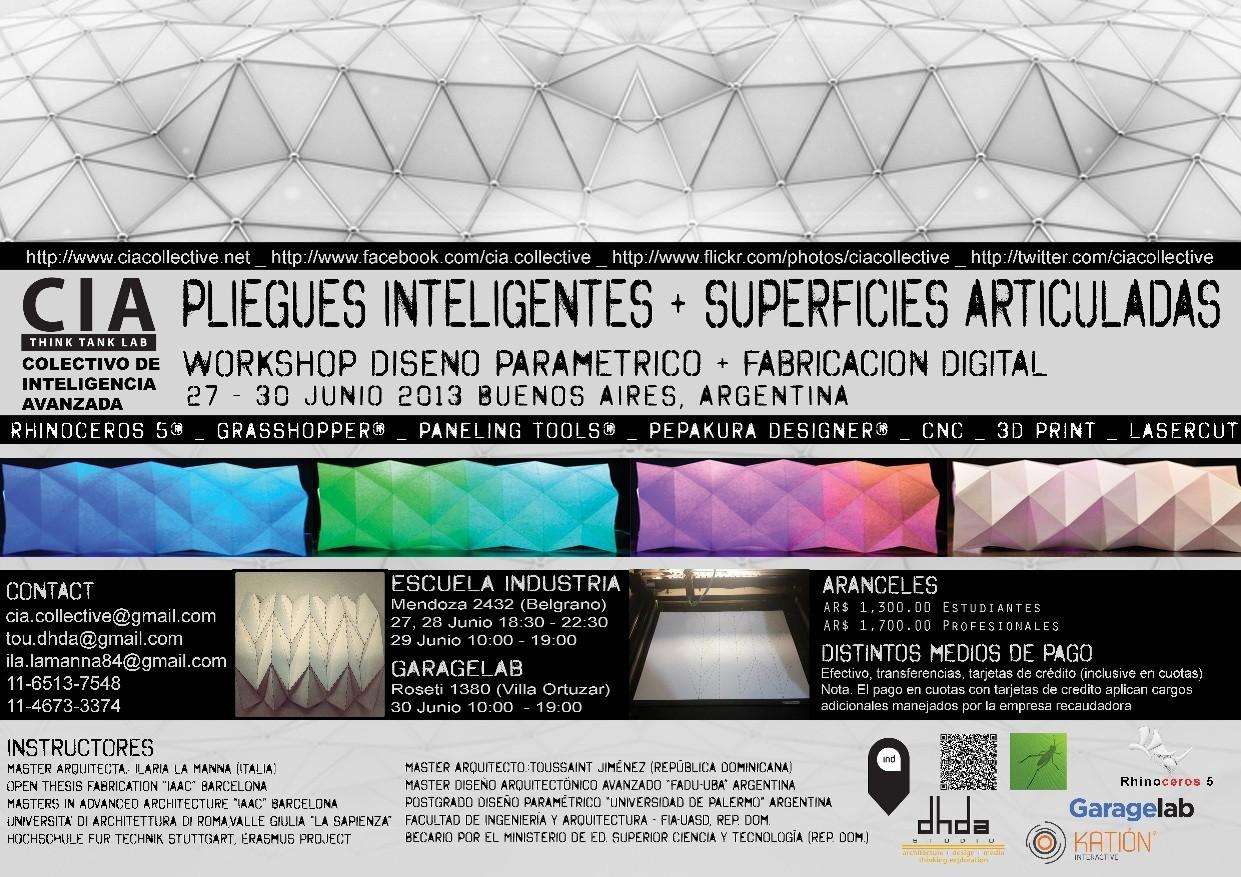 WORKSHOP PLIEGUES INTELIGENTES + SUPERFICIES ARTICULADAS DISEÑO PARAMÉTRICO + FABRICACIÓN DIGITAL en Buenos Aires [¡Sorteamos un Cupo!]