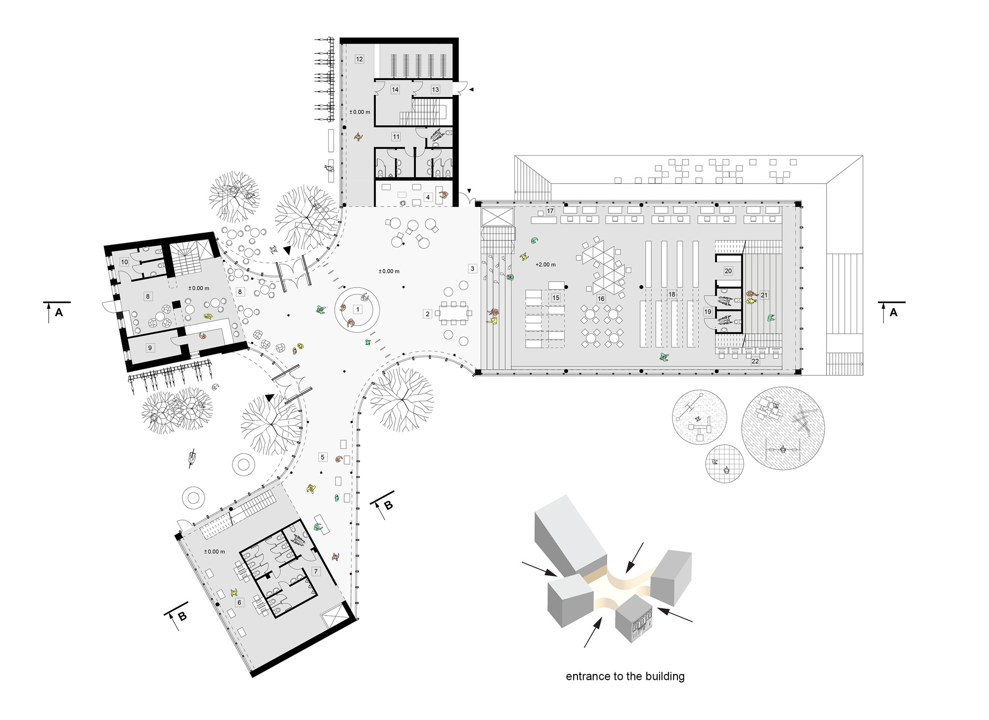 Gallery of library building in bauska winning proposal for Space planning architecture
