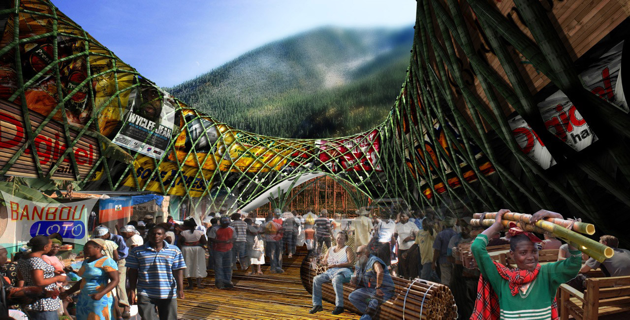 2013 Foster + Partners Prize premia a John Naylor por proyecto de infraestructura de Bambú para Haití, 'Bamboo Lakou' / John Naylor
