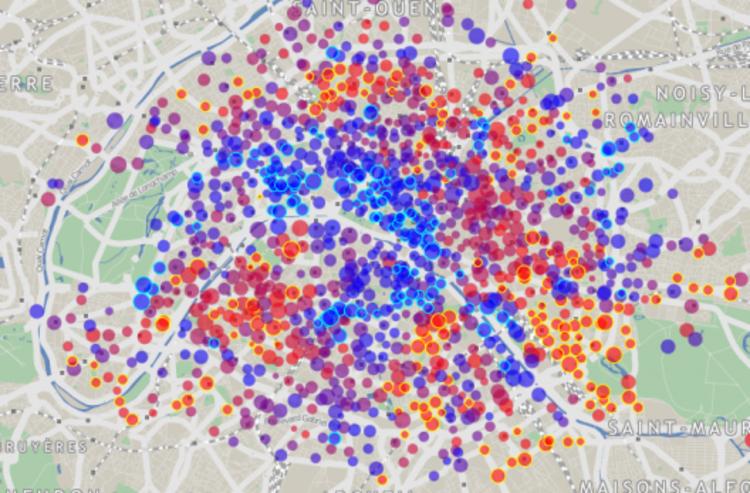 """""""Mapa de Empréstimo de Bicicletas"""": 89 sistemas georreferenciados, """"Mapa de Empréstimo de Bicicletas"""" - Paris"""