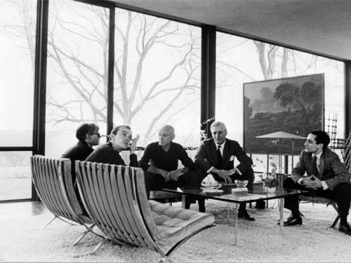 Imagine Our Digital Future and Join the Glass House Conversations' Last Online Dialogue , From left: Andy Warhol, David Whitney, Philip Johnson, Dr. John Dalton, and Robert A. M. Stern in the Glass House in 1964. © David McCabe