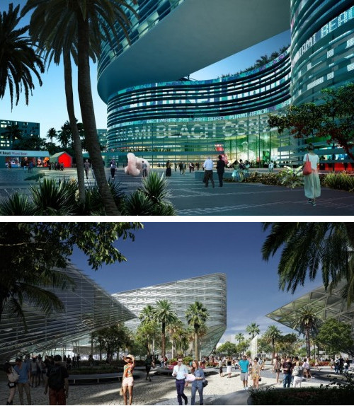 Fate Uncertain for Miami Beach Convention Center, Courtesy of OMA (above), BIG (below)