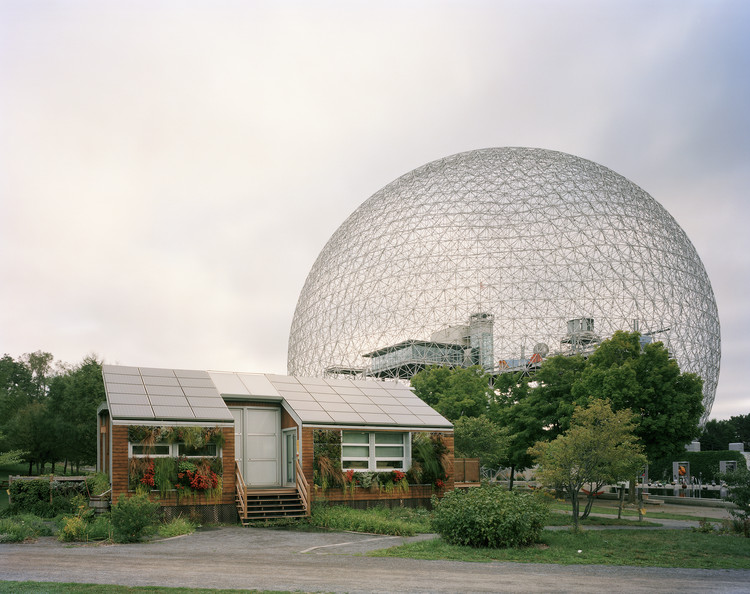 "Spotlight: Buckminster Fuller, Montreal 1967 World's Fair, ""Man and His World,"" Buckminster Fuller's Geodesic Dome With Solar Experimental House, 2012. Image © Jade Doskow"