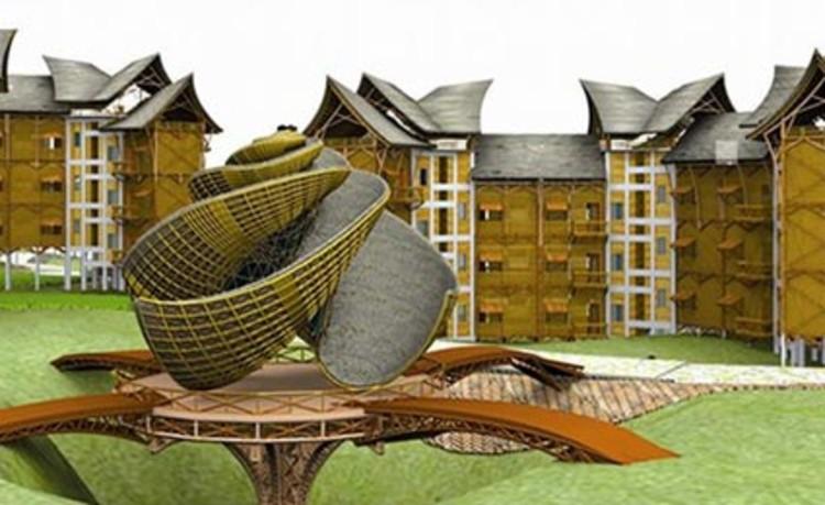 Arquitetos indianos criam prédio de bambu resistente a terremotos