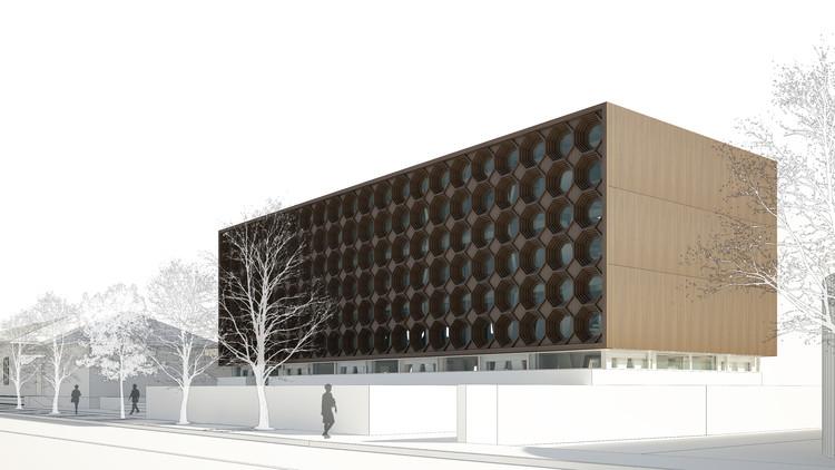Ganadores Concurso Edificio Docente y de Investigación Escuela de Arquitectura UC, Cortesía de Equipo Tercer Lugar