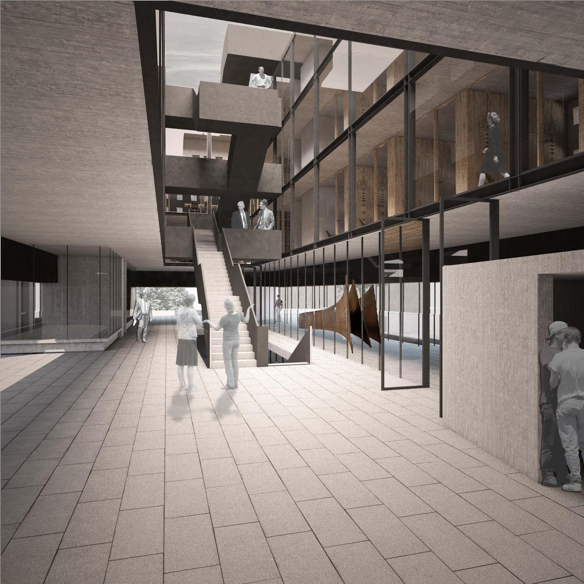 Galer a de ganadores concurso edificio docente y de for Facultad de arquitectura uni