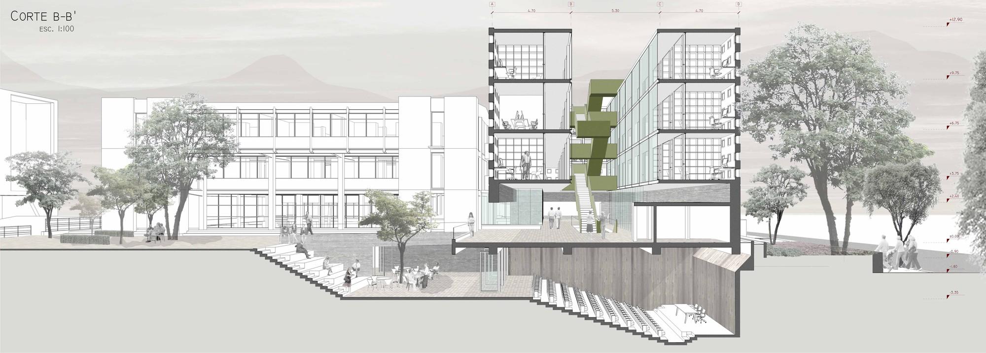 Galer a de ganadores concurso edificio docente y de for Plataforma de arquitectura