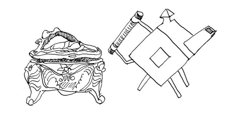 Do Industrial ao Artesanal: o Truque do Modernismo, Figura 1. À esquerda, caixa de música Art Nouveau de prata produzida em massa, de P. A. Coon, 1908. À direita, Bule de prata da Estética da Máquina feito à mão, de C. Dresser, 1879. Desenho de Nikos Salingaros.