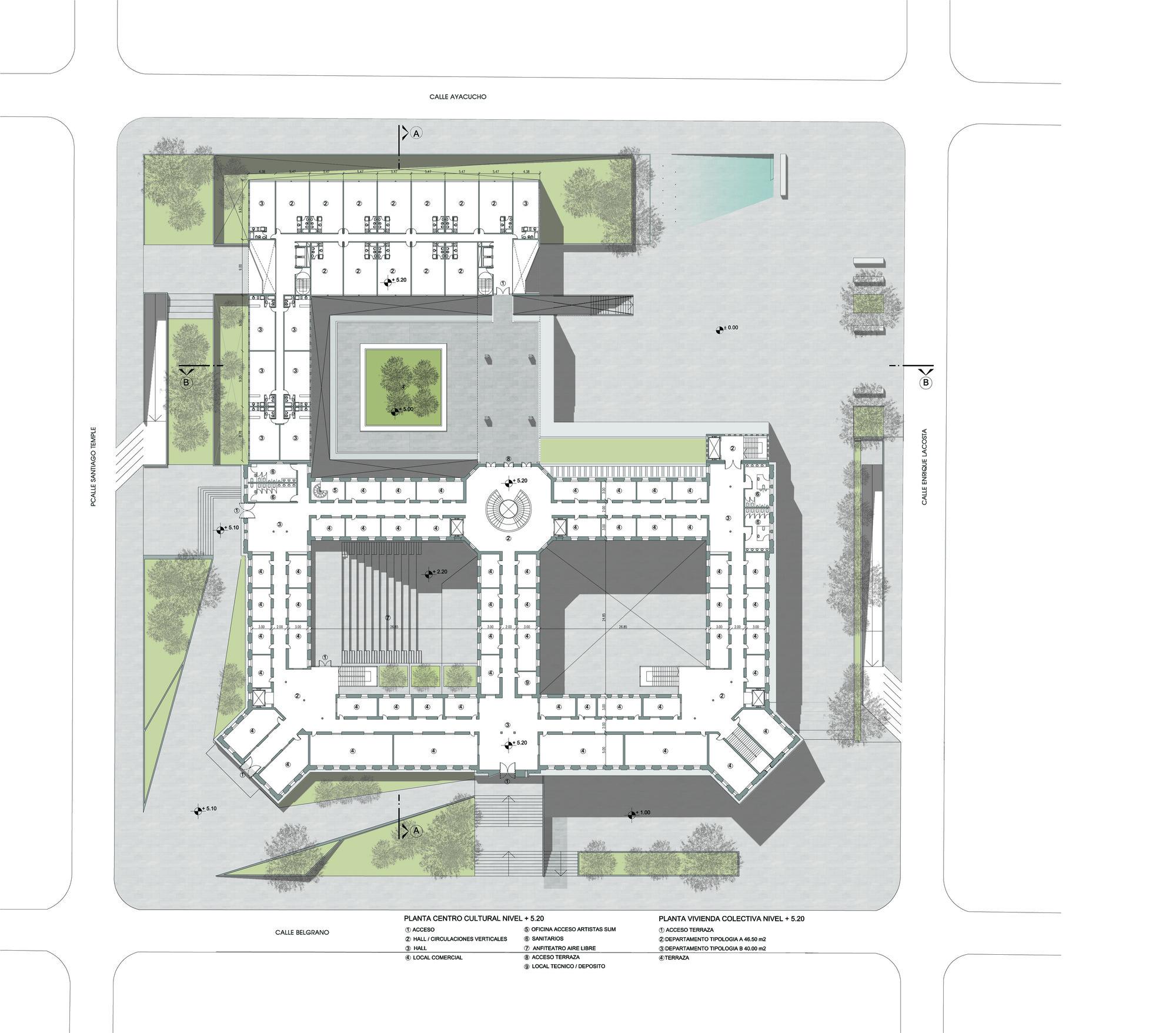 Galer a de primer lugar en concurso anteproyecto del for Planta arquitectonica de una oficina