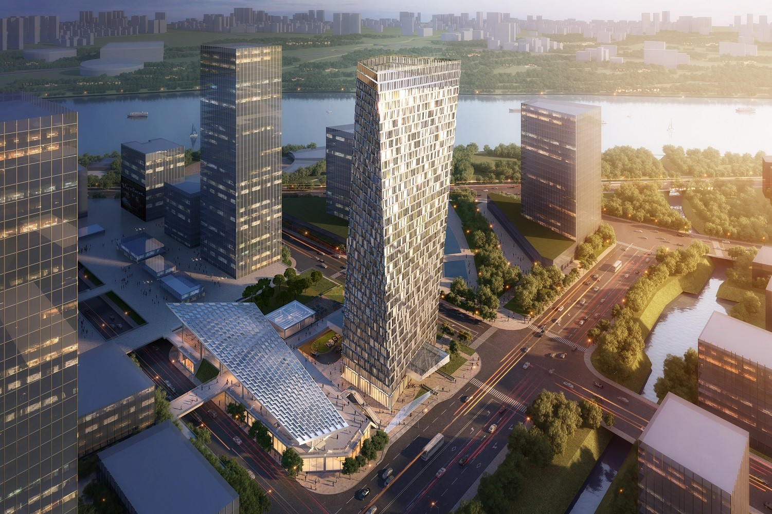 Xuhui Binjian Media City 188S-G-1 Tower and Podium Winning Proposal / Aedas, Courtesy of Aedas