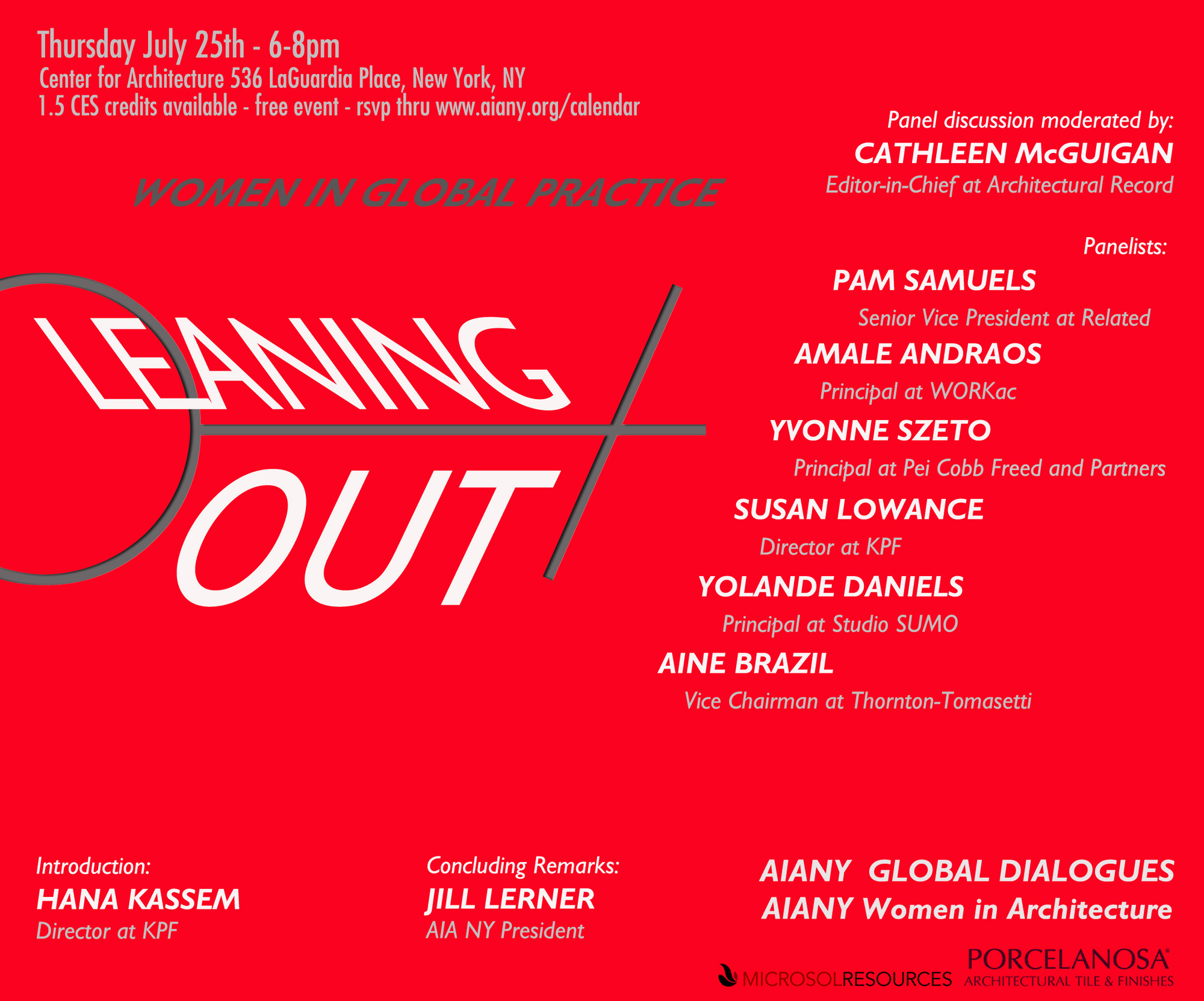 Leaning Out: Women in Global Practice, Courtesy of AIA NY Global Dialogues & AIA NY Women in Architecture