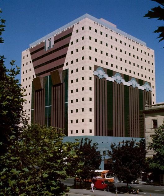 The Portland Building in 1982. Photo by Steve Morgan via Wikimedia Commons