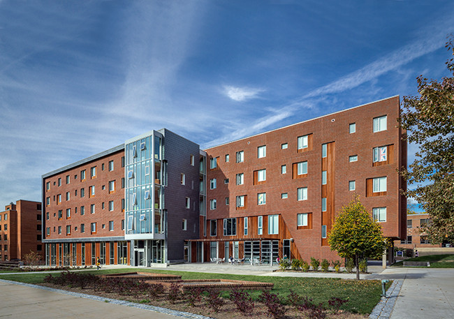 Architecture's First Full-Fledged Experiment in DeafSpace Design, The new residence hall on the campus of Gallaudet University in Washington, D.C., was designed by LTL Architects, in collaboration with Quinn Evans Architects and Sigal Construction. Image courtesy of Prakash Patel