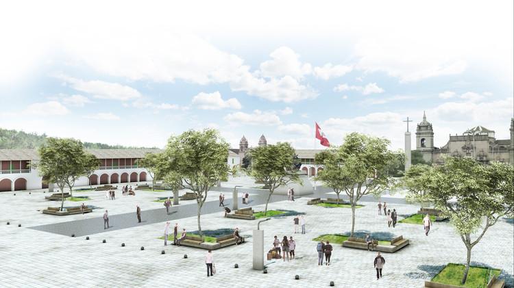 Menção Concurso Plaza Mayor e Eixo Turístico Cultural Centro Histórico De Huamanga , Cortesia de Equipo Segundo Lugar