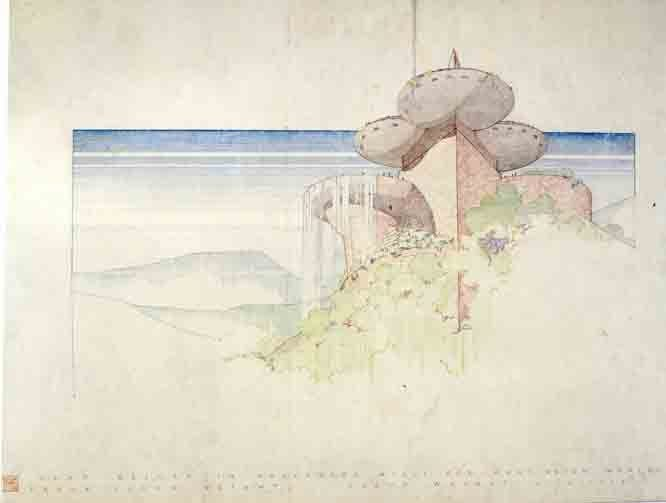 Never Built: Los Angeles, Frank Lloyd Wright, Huntington Hartford Athletic Club, 1947 (Frank Lloyd Wright Foundation)