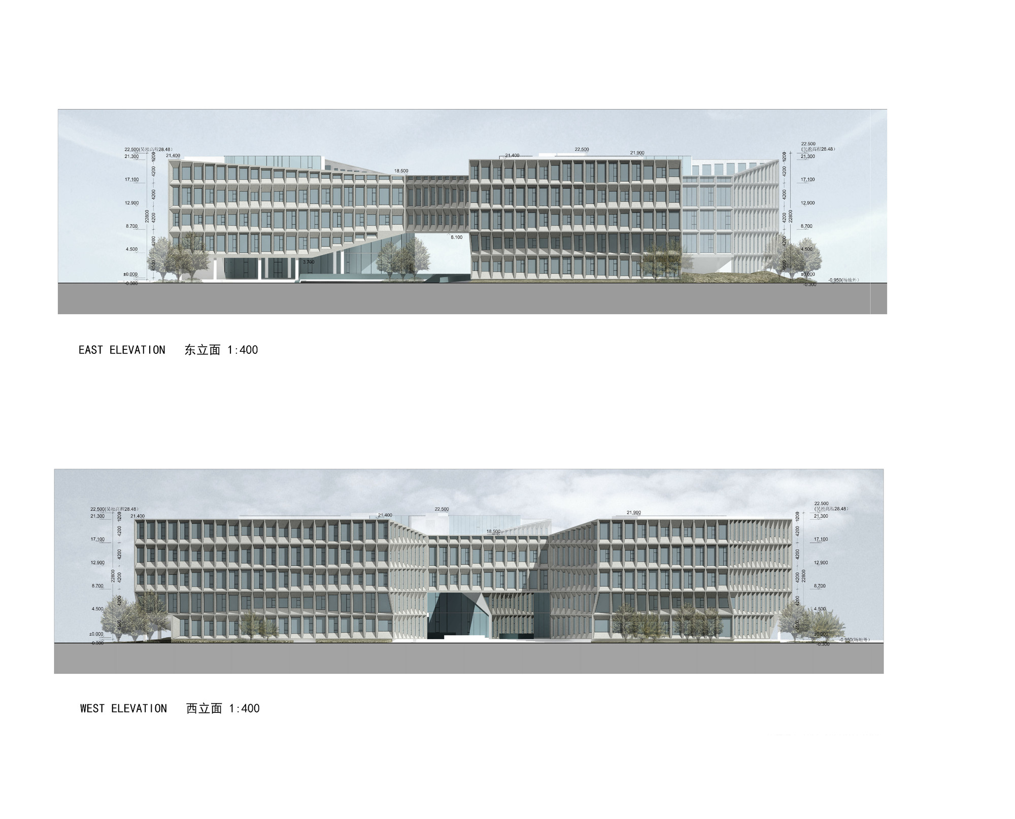 Building Elevation Plan Part - 25: Shanghai Hongqiao CBD Office Headquarters Building / LYCS Architecture