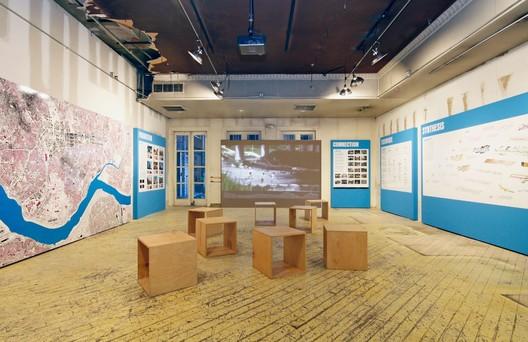 Van Alen Institute's pop-up ground floor exhibition space. On view through June 8:  Deconstruction/Construction: The Cheonggyecheon River Project in Seoul. Photo: Cameron Blaylock