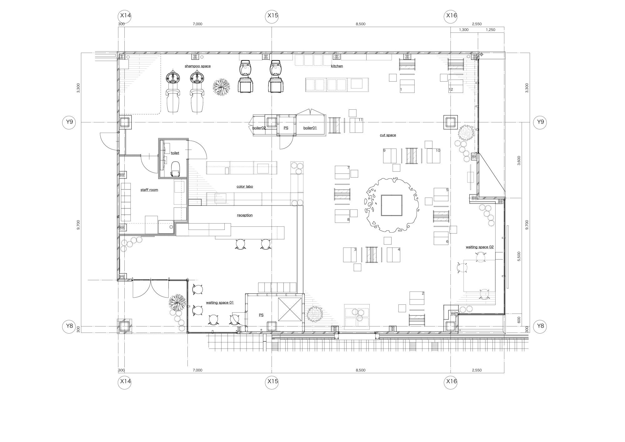 Gallery of lecinq hair salon ninkipen 19 for Design a beauty salon floor plan