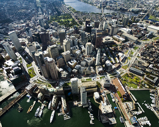 Aerial shot of the Greenway in Boston, after the Big Dig. Courtesy of Wikimedia Commons User Hellogreenway