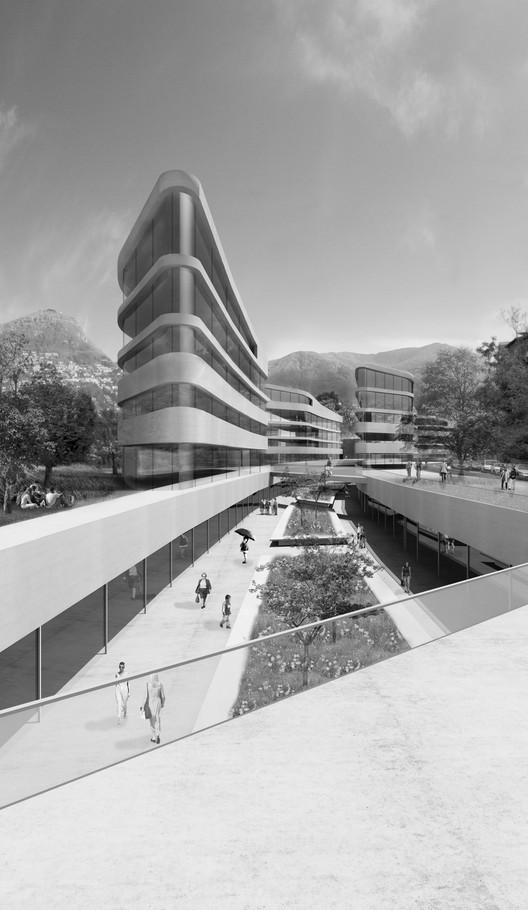 Primeiro Lugar em Concurso de Projeto e Construção do Campus Universitário Supsi em Lugano, Cortesia de Cruz y Ortiz Arquitectos