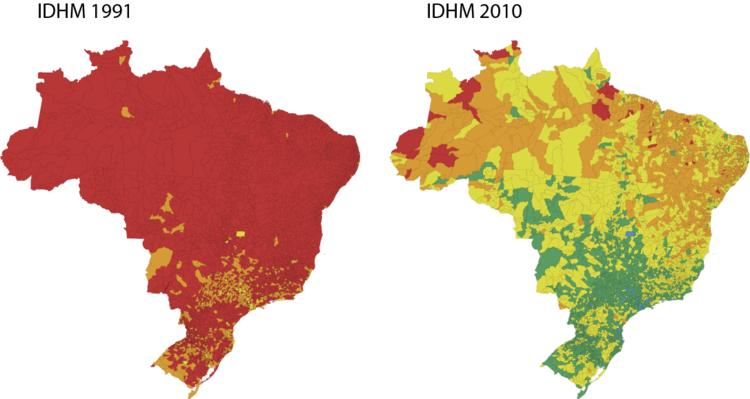 IDH das cidades do Brasil avança 47,5% em 20 anos