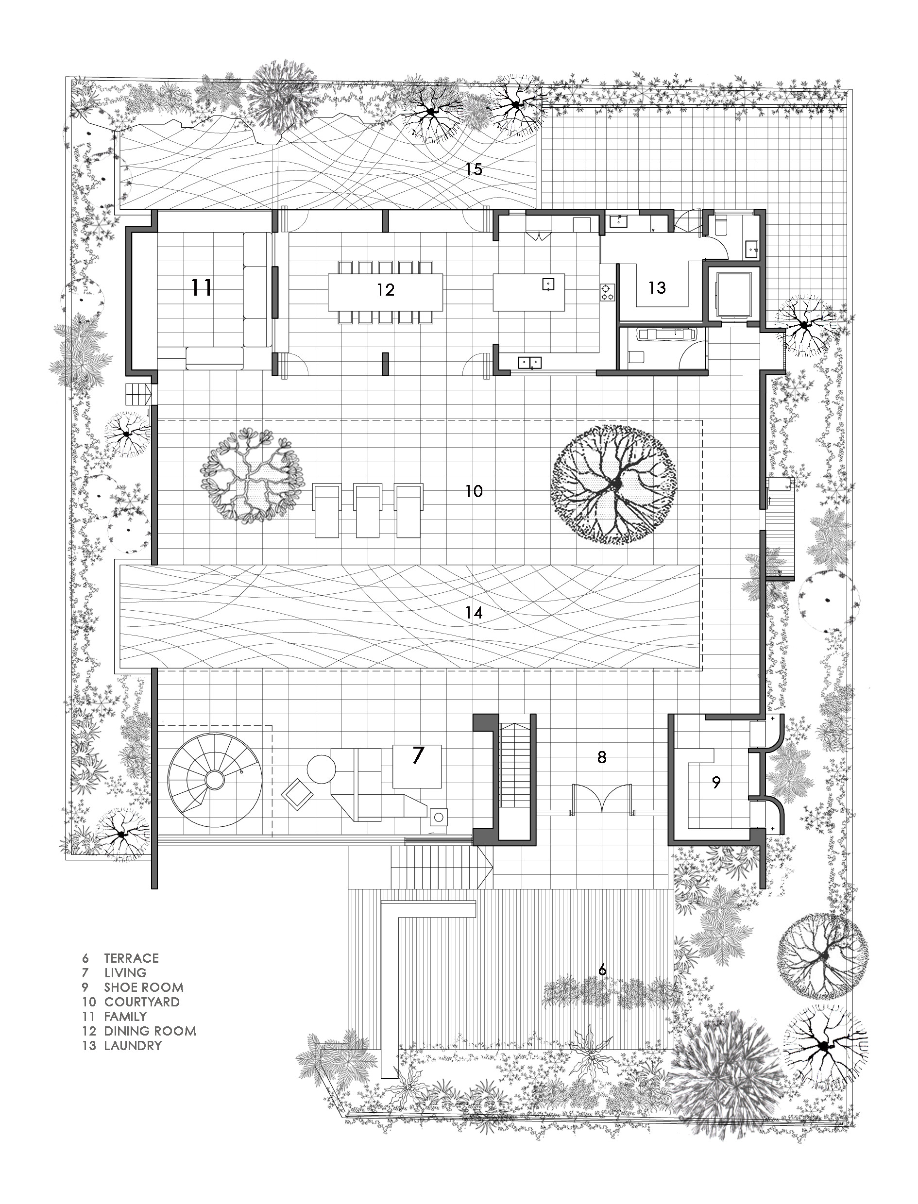 The courtyard housefirst floor plan