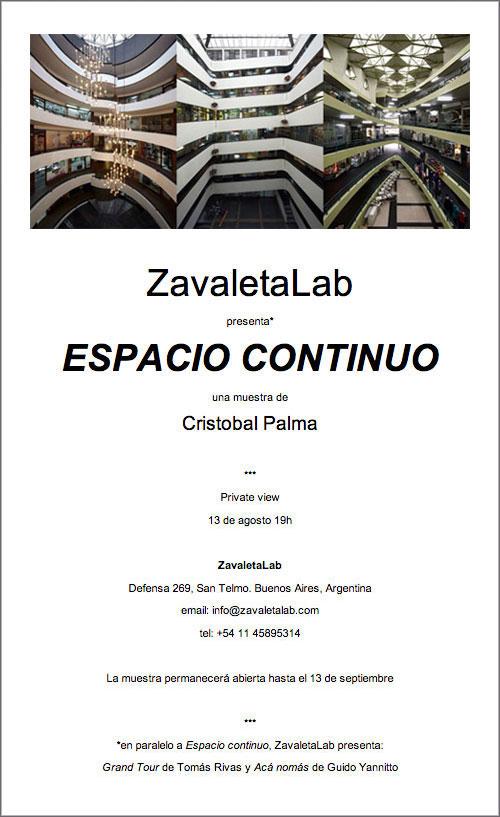 """Exposición: """"Espacio continuo"""" - Cristóbal Palma y """"Grand Tour"""" – Tomás Rivas"""
