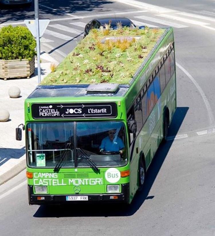 Jardins itinerantes - áreas verdes nos tetos dos ônibus na Espanha, Cortesia de phyto kinetic