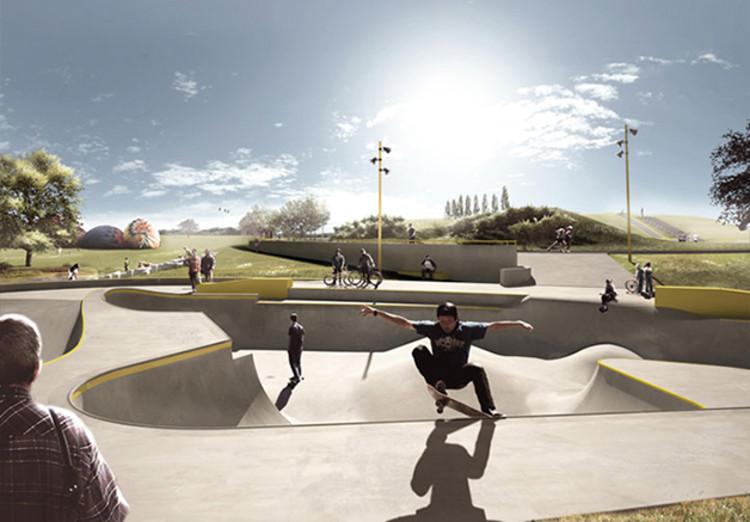 Pistas de skate que agem como contenção contra inundações, Renderização. Image Cortesia de hypeness
