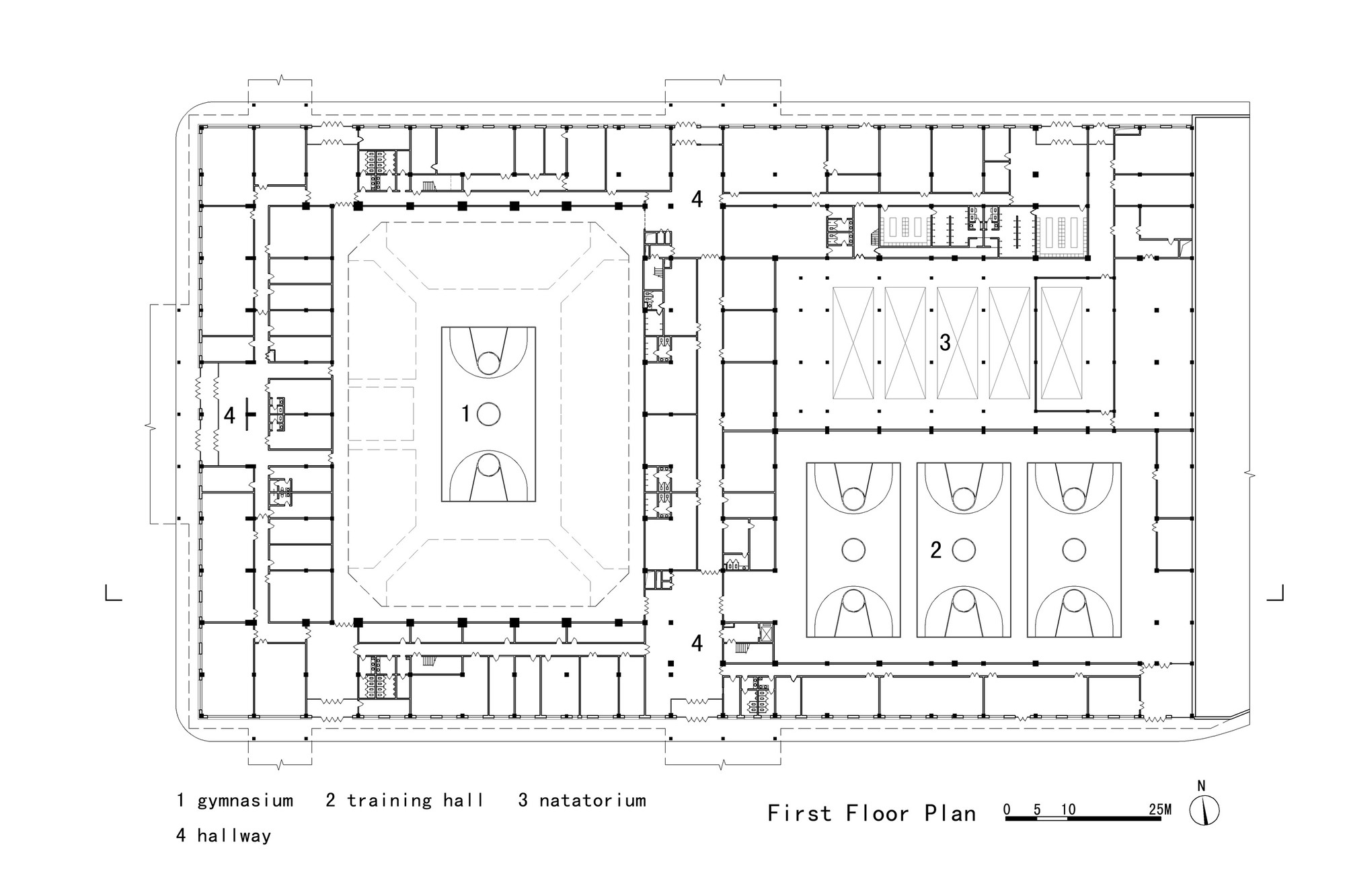 Basketball Arena Floor Plan Gallery Of Daxinganling Culture And Sports Center Had