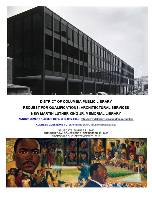 Request for Qualifications: MLK Jr. Memorial Library, Courtesy of District of Columbia Public Library