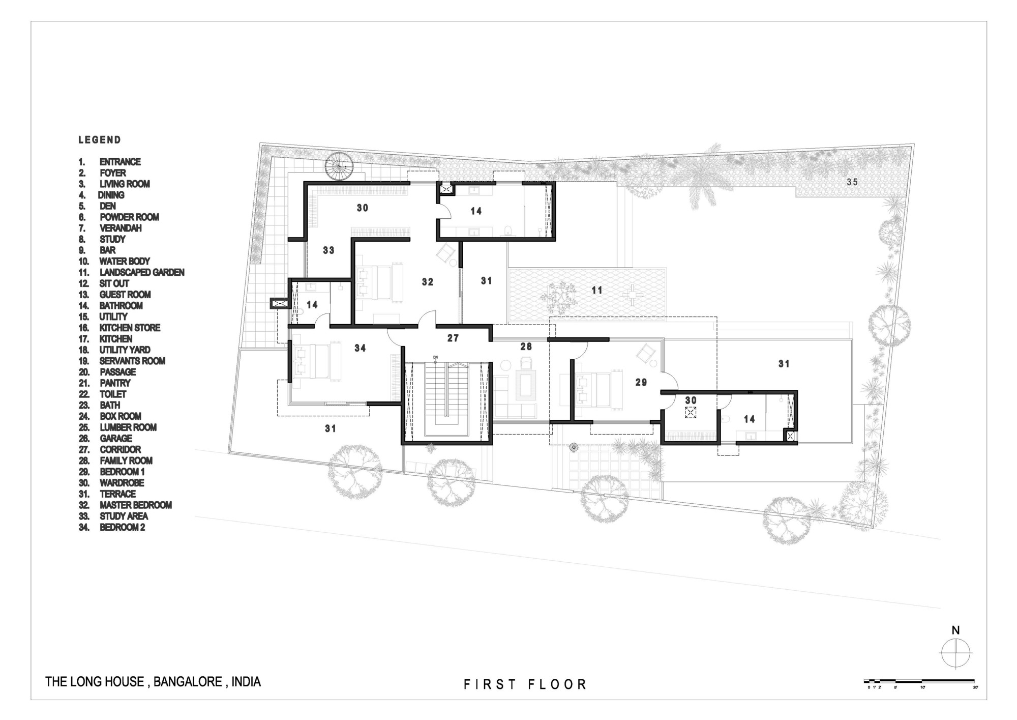 The long house khosla associates archdaily for Floor plans first