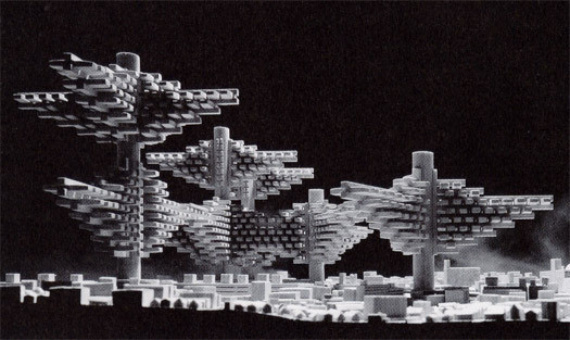 """""""Cities in the Air"""" model by Arata Isozaki (1960). Image © Design Observer"""