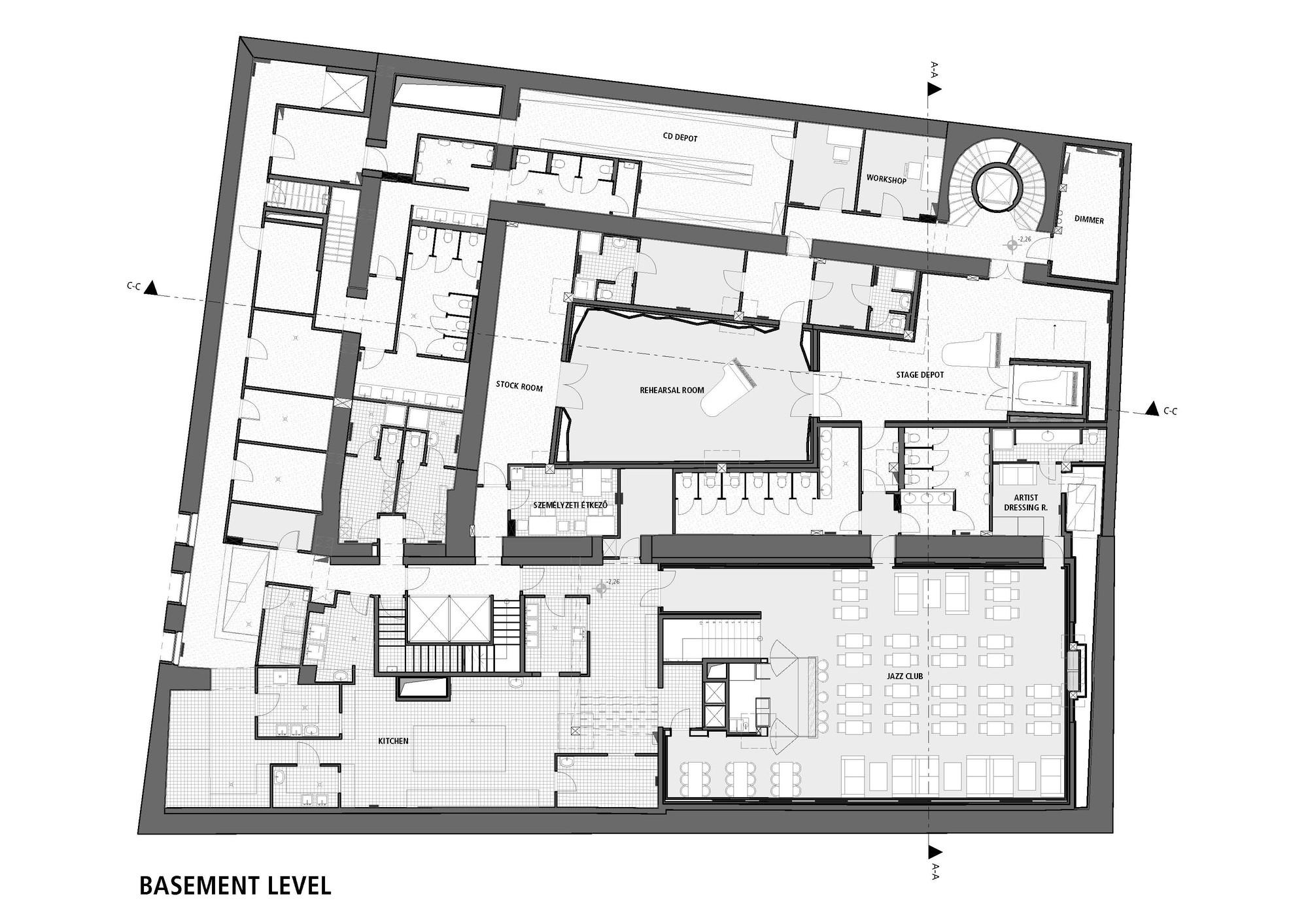 Gallery of budapest music center art1st design studio 29 for Music studio floor plans