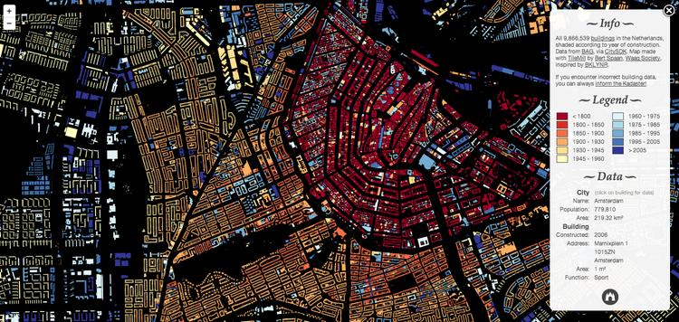 Software de Ingeniería logra mapear todos los edificios en Holanda, Vista Aérea de Amsterdam. Image Cortesía de Waag Society