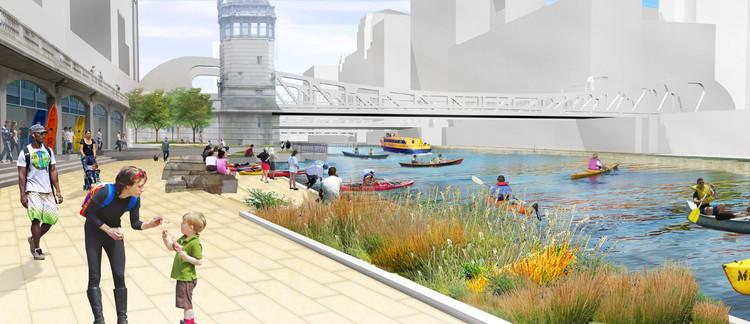 Projeto Chicago Riverwalk: recuperar o rio, Cortesia de sasaki.com
