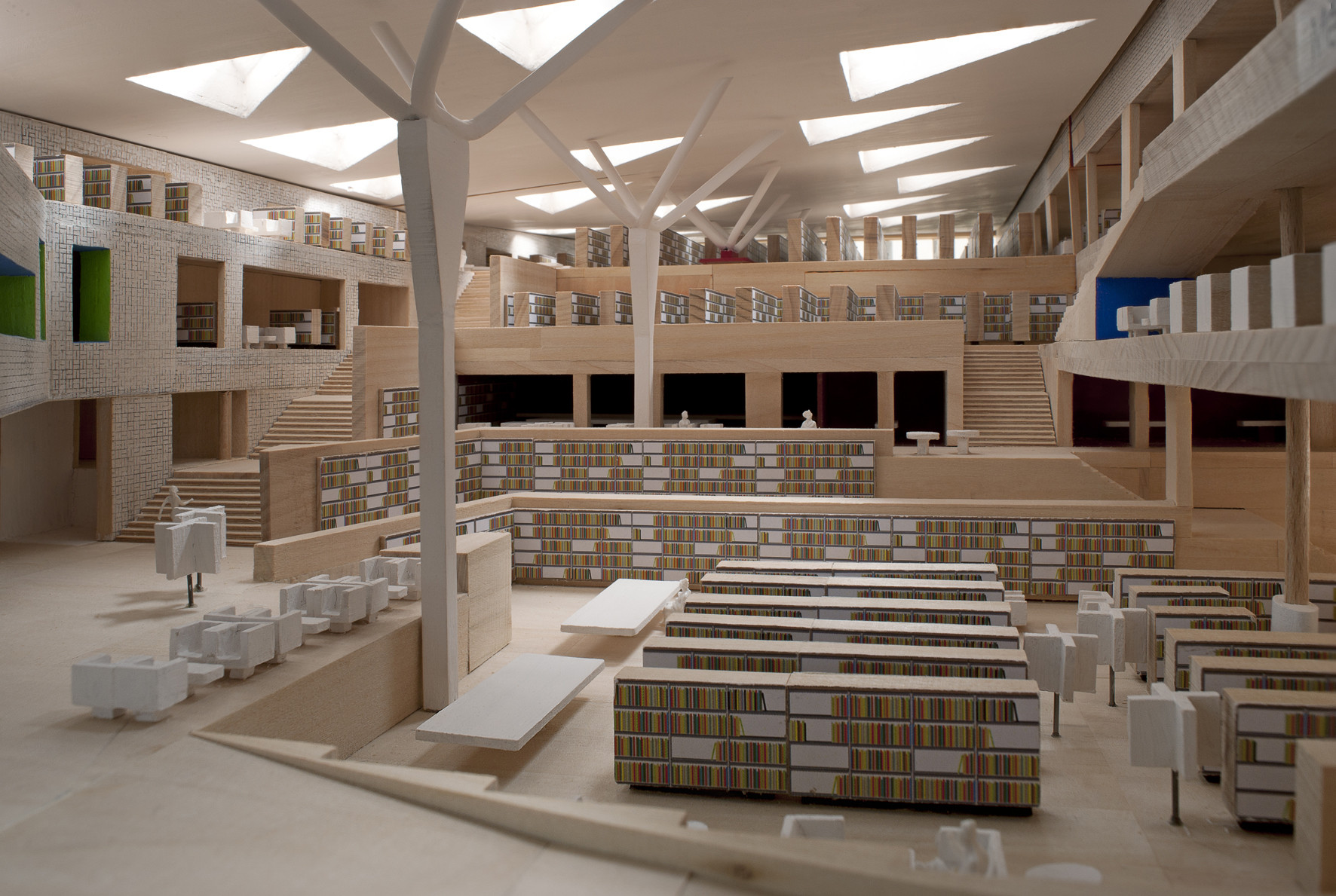 BNL Bibliothèque Nationale De Luxembourg / BOLLES+WILSON, Wood Model  Interior. Image ©