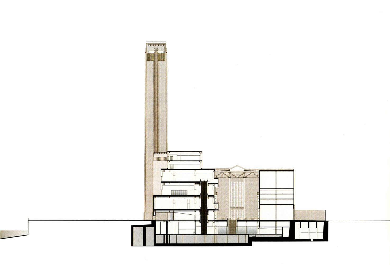 Clássicos Da Arquitetura: Museu Tate Modern,Cross Section Looking East.  Image © Herzog