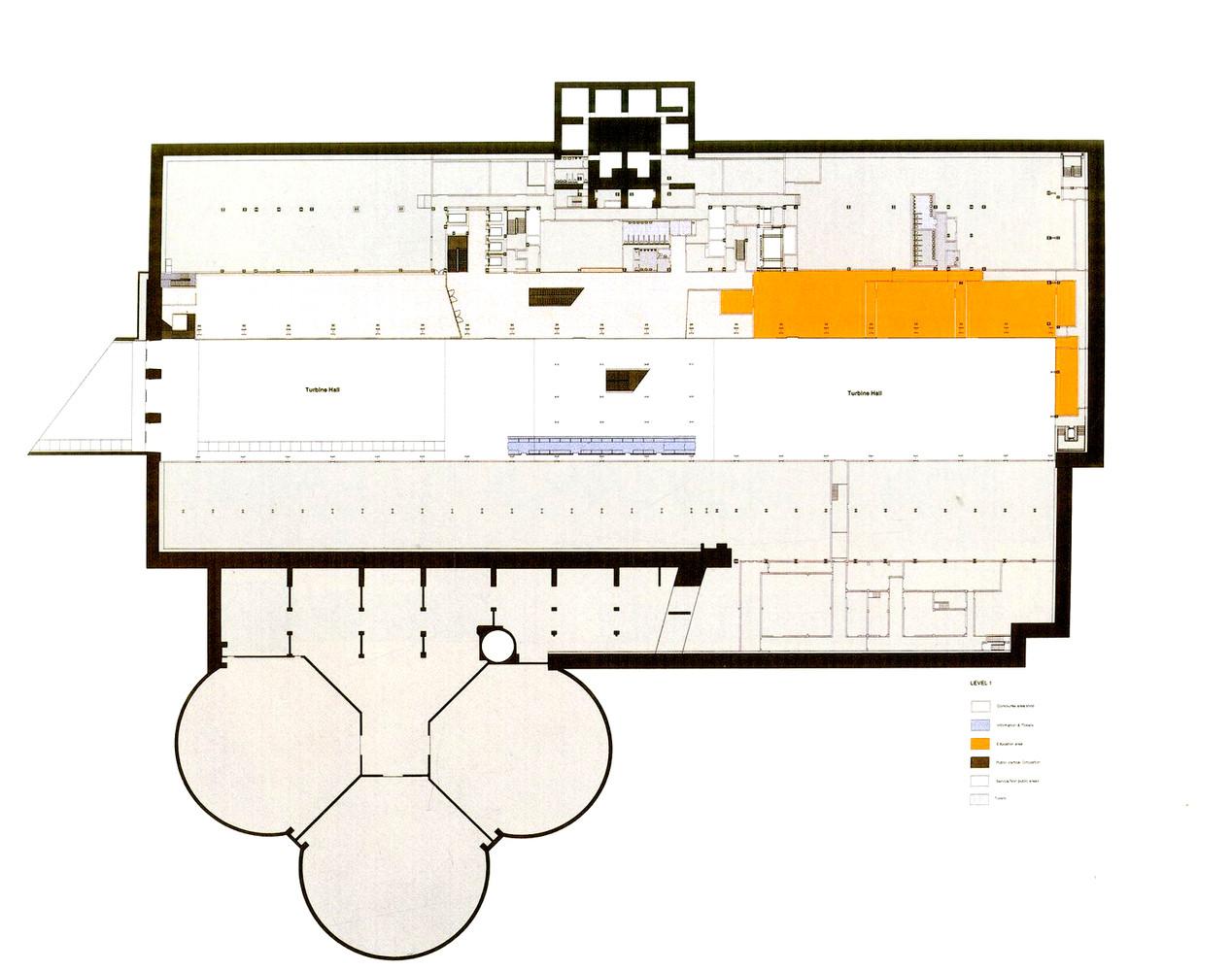 Clássicos Da Arquitetura: Museu Tate Modern,Ground Level Plan. Image ©  Herzog U0026