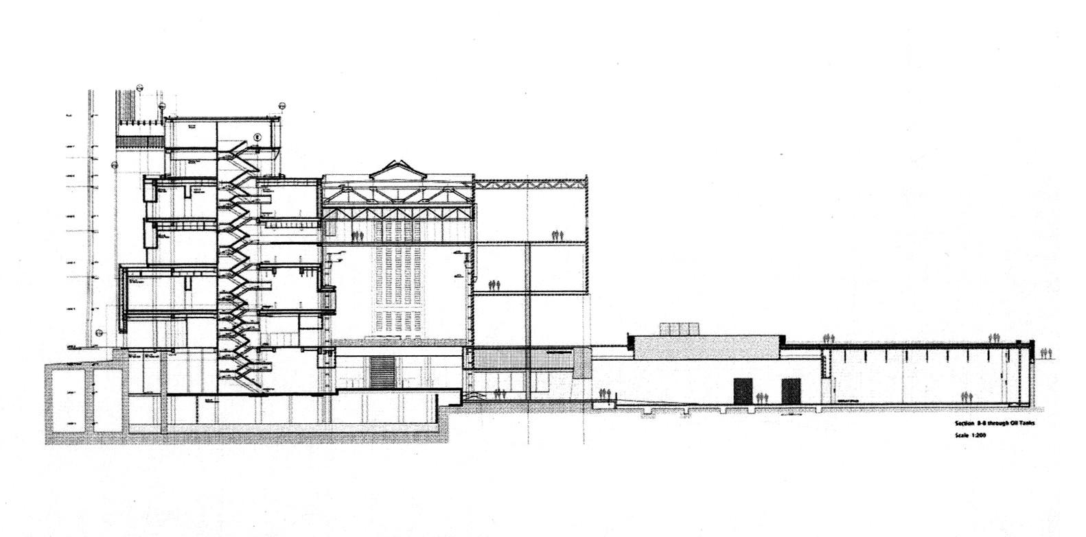 Clássicos Da Arquitetura: Museu Tate Modern,Section Through Boiler House,  Turbine Hall,