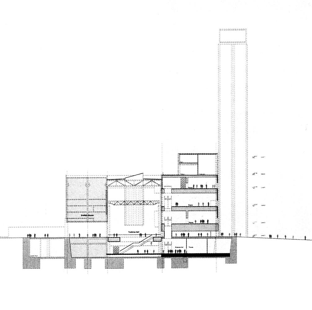Clássicos Da Arquitetura: Museu Tate Modern,Section Through Tower  Concourse. Image © Herzog
